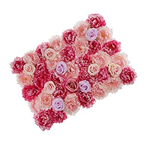 Baoblaze Romantic Artificial Rose Flower Wall Panels Wedding Party Background Decoration - Rose red 102