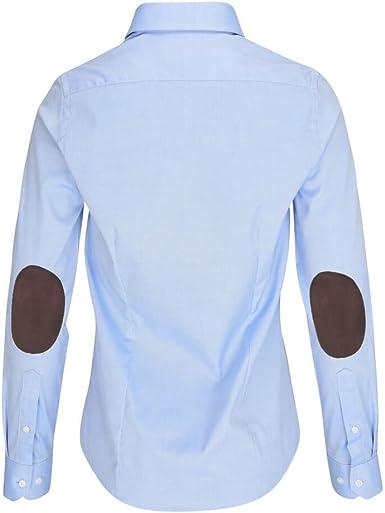 ALLBOW - Blusa azul neón con parches de codo, blusa elegante para mujer con parches marrón XS: Amazon.es: Ropa y accesorios
