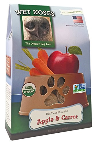 (Wet Noses All Natural Dog Treats, Made in USA, 100% USDA Certified Organic, Non-GMO Project Verified, Apples & Carrots, 14 oz Box)