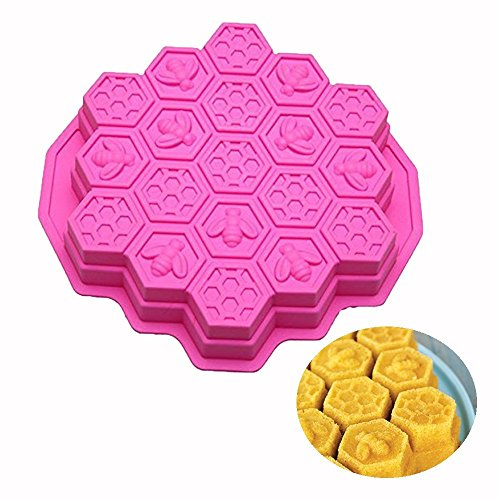 Honey Bee Non Stick (ESA Supplies 19 Cavities Honeycomb Cake Molds silicone Soap Making Molds Pull-Apart Dessert Pan Candy Baking Cake Moulds)
