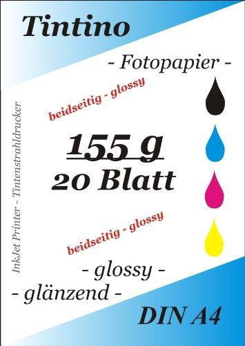 secado r/ápido y impermeables brillante para impresoras de inyecci/ón de tinta 20/hojas//Blanco brillante Papel fotogr/áfico A4 155/g//m/² brillante sobre los dos caras