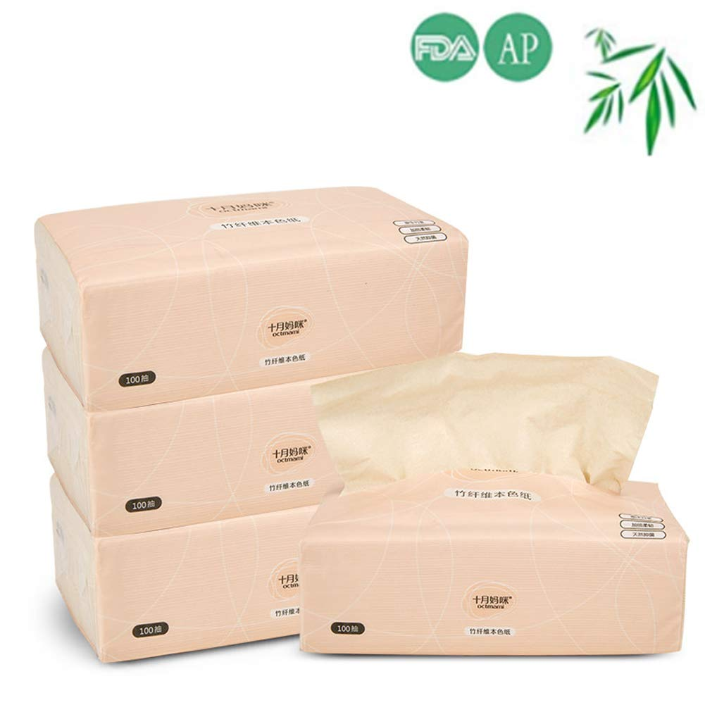 octmami Bamboo Facial Tissues Eco-Friendly Tissues Recycled Paper Natural Tree Free Paper 100 Count 4Packs