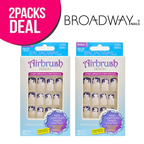 2-Pack! Broadway Airbrush Design Medium Length Modern Square 24 Nails 12 Sizes - Broadway Square