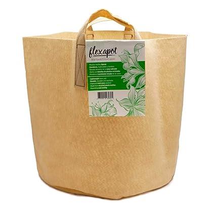 Bolsa / Maceta Geotextil con asas para el cultivo Flexapot® Beige 15 GAL (56
