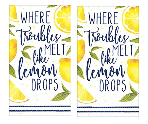 Where Troubles Melt Like Lemon Drops Peaceful Message Guest Towels Set of 2 Packs 16 per package 2 ply disposable paper Napkins