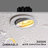 Obsess 3-inch IP54 Waterproof Shower Light with 8W COB LED Downlight, Damp Location Use, Shower Room Light, Shower Room Downlights Ceiling Light, White, Aluminium, Dimmable, Warm White 3000K