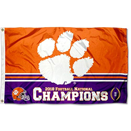 College Flags and Banners Co. Clemson Tigers 2018 NCAA Football National Champions Flag ()