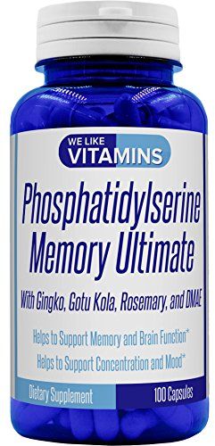 Brain Nutrients (Phosphatidylserine 500mg Memory Ultimate plus Ginkgo and DMAE 100 capsules Best Value Phosphatidyl Serine)