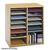 Scranton & Co Medium Oak 16 Compartment Wood Adjustable File Organizer