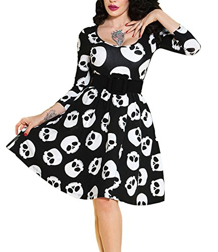 MERRYA Women's Rockabilly Sugar Skull 3/4 Sleeves Casual Cocktail Party Dress with Belt (L, Black)