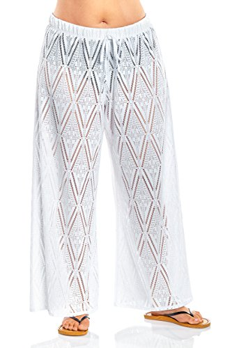 Always For Me Women's Plus Size Coverup Beach Pants White 3X Plus