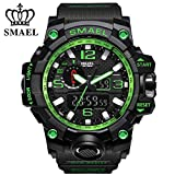 digital analog - SMAEL Men's Sports Analog Quartz Watch Dual Display Waterproof Digital Watches with LED Backlight relogio masculino (black green)