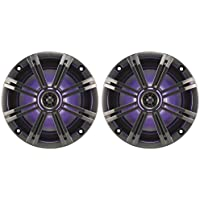 Pair KICKER 43KM654LCW 6.5 390w Marine Boat Speakers w/LED Lights+Free Speaker