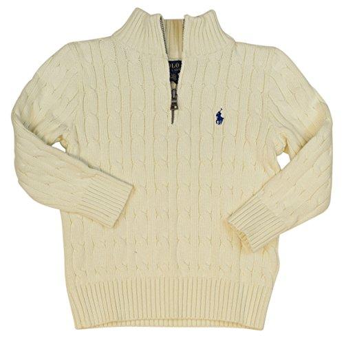Polo Ralph Lauren Little Boys' Cable Knit 1/2 Zip Sweater - 3/3T - Chic Cream (Ralph Lauren Cable Sweater Polo)