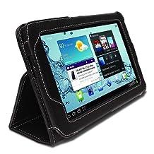 GreatShield Leather Premium Flip Stand Protective Folio Case for Samsung Galaxy Tab 2 7-Inch Tablet - (Black)