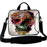 Wondertify 17-17.3 Inch Waterproof Neoprene Laptop Shoulder Bag Briefcase - Flower Sugar Skull Art Protective Bag Carrying Case for Macbook/Tablet/Laptop/Notebook/ASUS/Samsung/Lenovo/HP/Dell