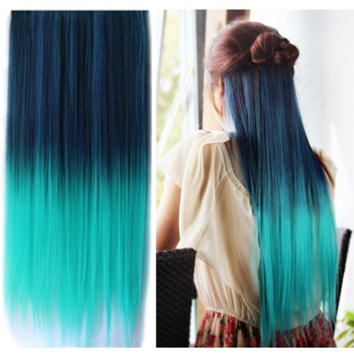 Best Selling ! 15 Colorsjapan High Temperature Heat Resistant Synthetic Straight Multi Color Extension Hair Wig Woman's 65cm 25inch 105g Good Quality Human Made Hair (dark blue-Light Green) (Turquoise Extensions Human Hair)