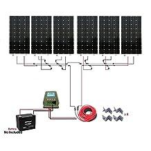 ECO-WORTHY 1KW Monocrystalline 24V Off Grid Solar Panel Kit: 6pcs 160W Mono Solar Panels + 40A MPPT Controller + Solar Cable + MC4 Branch Connectors Pair + Z Bracket Mounts
