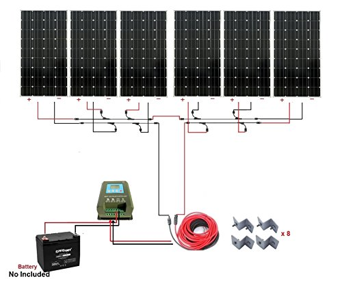 ECO-WORTHY 1000W Monocrystalline 24V Off Grid Solar Panel Kit: 6pcs 160W Mono Solar Panels+40A MPPT Controller+Solar Cable+MC4 Branch Connectors Pair+Z Bracket Mounts (Solar Panel Kits For Homes)