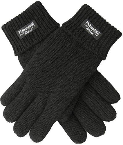 EEM Herren Strick Handschuh LASSE, 100% Wolle, Thinsulate warm, Winterhandschuh; schwarz, Größe L