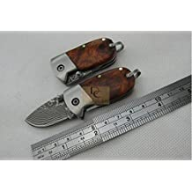 DAMASCUS QQ Mini SMALL knife ( red shadow wood ) Handle High-end Collection Folding Pocket KEY Knife Freeshipping