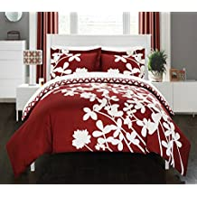 Chic Home 3 Piece Calla Lily Reversible Large Scale Floral Design Printed with Diamond Pattern Reverse Duvet Cover Set, Queen, Red