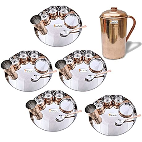 Prisha India Craft Set Of 5 Dinnerware Traditional Stainless Steel Copper Dinner Set Of Thali Plate Bowls Glass And Spoon Dia 13 With 1 Pure Copper Pitcher Jug Christmas Gift