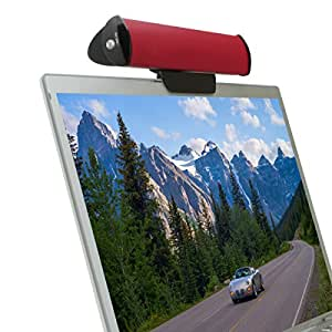 USB Laptop Speaker Clip-On Soundbar by GOgroove - SonaVERSE USB (Red) Portable Compact Travel Stereo Speaker Bar Design Uses Single USB Cord for Audio Input & Power - Includes Clip & Desk Stand