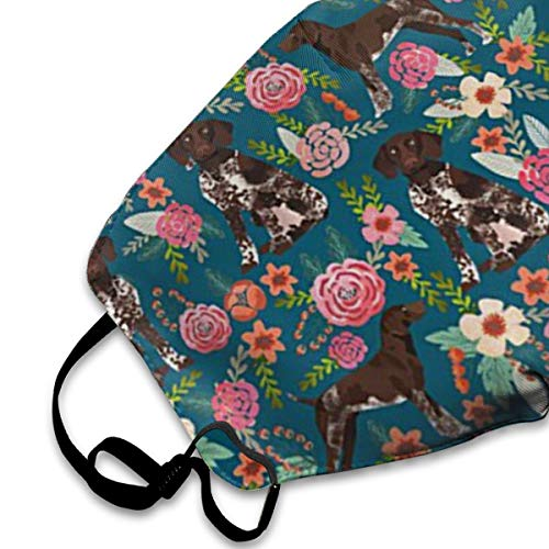 German Shorthaired Pointer Floral Dog PM2.5 Mask, Adjustable Warm Face Mask Unique Cover Filters Blocking Pollen Pollution Germs£¬Can Be Washed Reusable Pollen Masks Cotton Mouth Mask For Men Women