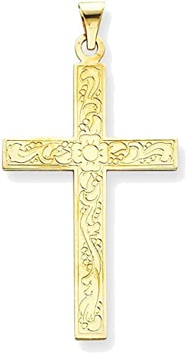 Silver Yellow Plated Cross Charm 49mm
