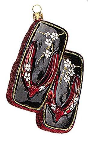 Japanese Japan Geta Shoes Geisha Polish Glass Christmas Ornament Souvenir Decoration