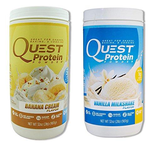Quest Nutrition Quest Protein gyOakK Powder, Banana Cream/Vanilla Milkshake 2lb Tub (1 of Each) by Quest Nutrition
