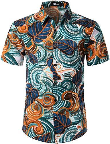 JOGAL Men's Flower Casual Button Down Short Sleeve Hawaiian Shirt (Orange, Small)