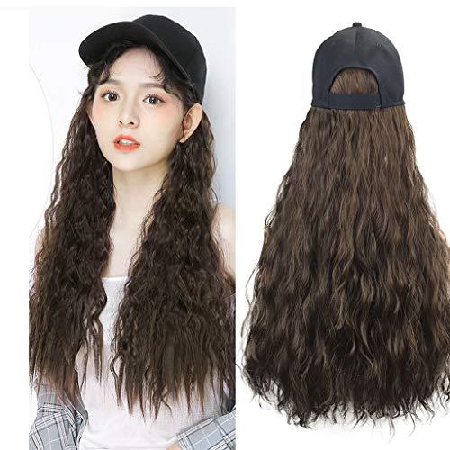 (Tigivemen Elegant Long Hair Baseball Cap Ball Caps Casual Hat with Wig,Fashion Long Curly Wig)