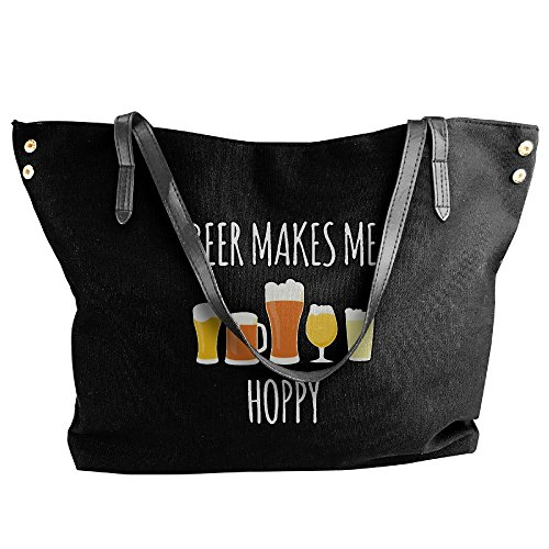 Handbags Drinking Handbag Black Beer Shoulder Beer Tote Hoppy Funny Large Me Canvas Makes Women's qFH71c