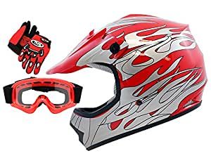 TMS Youth Kids Red Flame Dirt Bike ATV Motocross Helmet with Goggles and Gloves (Large)
