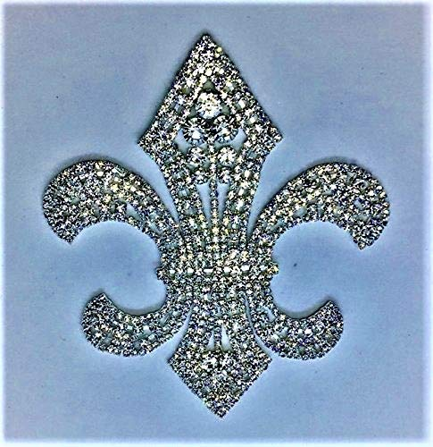 Silver Spider Fleur De Lis Shape Rhinestone Applique for Wedding and Bridal Embellishments