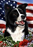 Cheap Border Collie Dog Breed Patriotic House Flag 28 x 40 Inches