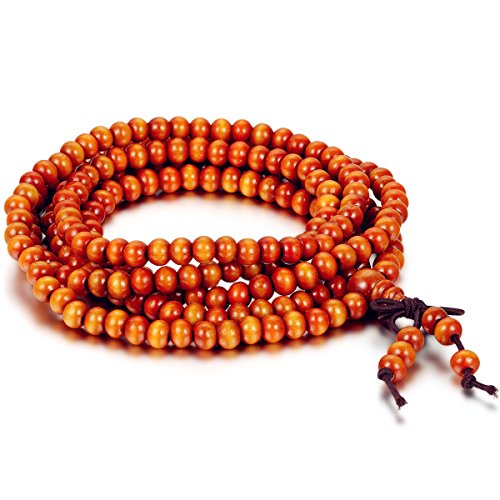 Flongo Men's Women's 6mm Wood Bracelet Link Wrist Necklace Chain Tibetan Buddhist Orange Sandalwood Beads Prayer Mala Chinese Knot Elastic