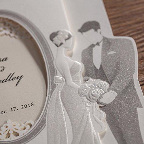 Brides Wedding Invitation Kit: 50pcs Wishmade Laser Cut Wedding Invitations Cards Kit