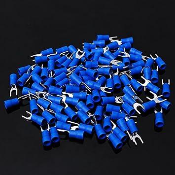 #6 Stud, Blue 16-14 Gauge Conext Link STV-6B100 Vinyl Spade Terminal 100 Pack