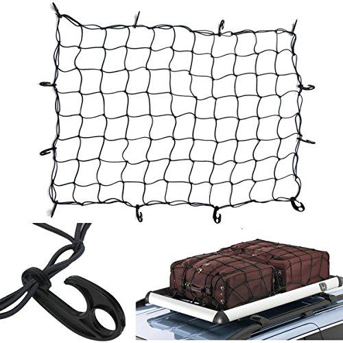 Tebery Cargo Net with 12 Hooks Elasticated Bungee Cargo Net Auto Roof Tie-Down Net Heavy Duty Truck Bed Net (47'' x 36'') by Tebery