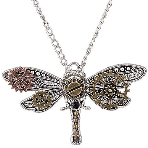 Halloween Steampunk Accessories Clock Gear Statement Necklace Vintage Costume Jewelry Mixed Metal (Dragonfly)