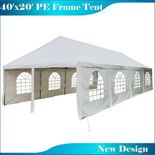 DELTA Canopies 40'x20' PE Frame Tent Wedding Party Canopy Shelter - White - Frame Wedding Canopy
