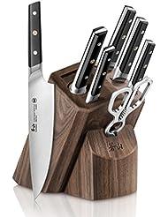 Cangshan TC Series 1021219 Swedish Sandvik 14C28N Steel Forged 8-Piece Knife Block Set, Walnut