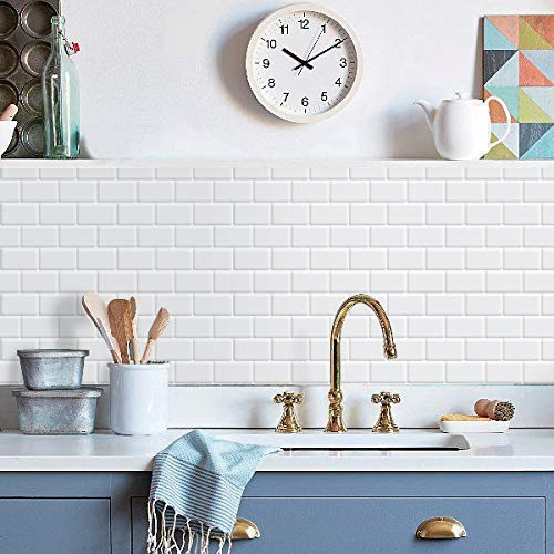 "Art3d 10-Sheet Peel and Stick Tile Backsplash - 12""x12"" Premium Kitchen Backsplash Peel and Stick Tile, White"