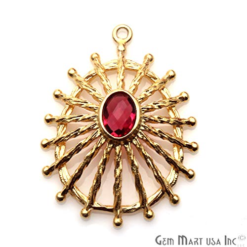 Pink Tourmaline Gemstone Oval Pendant, Gold Plated, Single Bail, 32x24mm Designer Earring Connector, Statement Pendant, ()