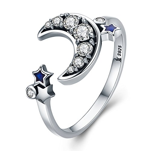 (925 Sterling Silver Nautical Anchor Blue Birthstone CZ Ring Expandable Open Ring Adjustable Women Jewelry (Moon Star Ring))