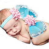 Lace Newborn Baby Butterfly Angel Wings with Hairband, Photography Props with Flower Headband Halo Set (Blue)