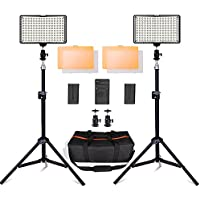 SAMTIAN 160 LED Video Light Kit with 29 Inch Tripod,3200/5500K Photography Light Stand Set for Canon Nikon Sony DSLR Cameras Shooting,Batteries[Runtime 90 Minutes],Charger,Carry Case Included
